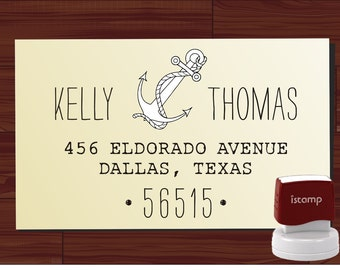 ADDRESS STAMP self inking Love Anchor Personalized Name Address self ink Wedding Stamp pre inked - Style 1109B