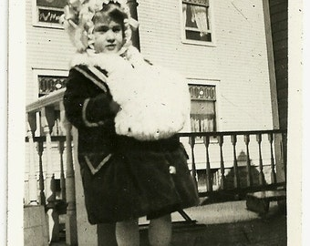 Vintage Victorian Snapshot Photo Little Girl In Bonnet And High Button Boots With Big Fur Muff Photograph