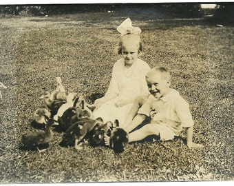Little Boy And Girl Play With Ducklings 1921 Vintage Victorian Snapshot Photo Easter Photograph