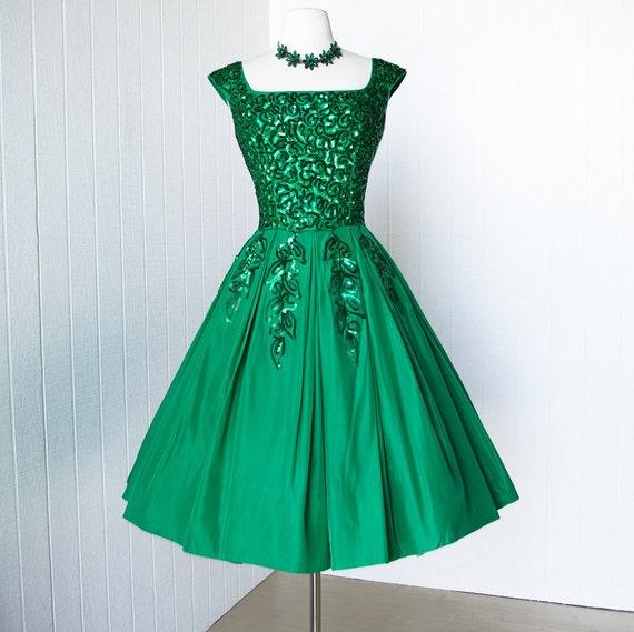 Vintage 1950 S Dress Gorgeous Emma Domb Emerald Green