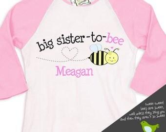 Big sister whimsical bee  pink/white raglan shirt