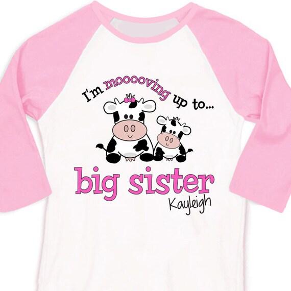 Big sister or big sister to be cow raglan shirt