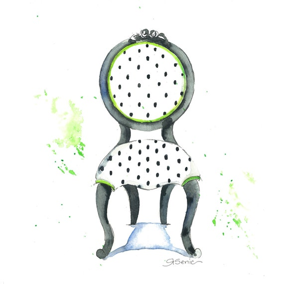 Chair Print, Chair Wall Decor,  Emma Chair, 14x14
