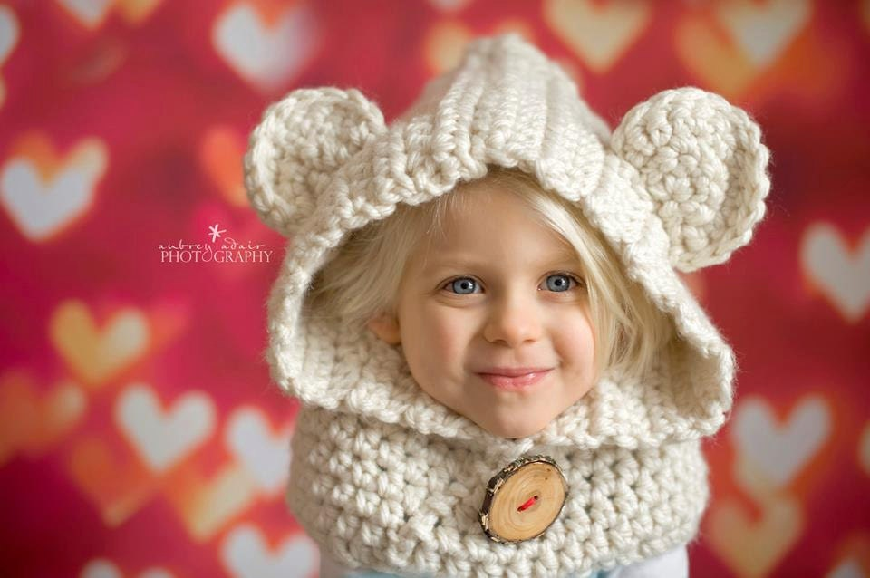 Elizabeth Crochet Hat Pattern For Child : CHILDS Cream Bear Hat Bear Cowl Crochet Bear by ...