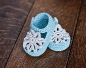 Instant download - Crochet PATTERN baby booties (pdf file) - Mint Mary Janes