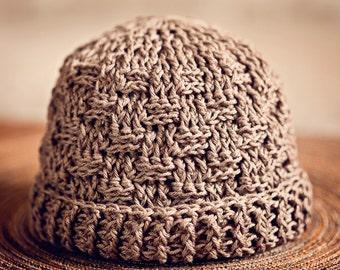 Crochet hat PATTERN - Basketweave Boy Hat and scarf (sizes from newborn to adult)