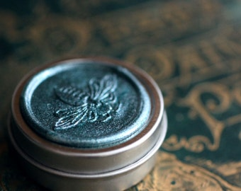 GreenWitch Solid Natural Perfume, Luxury in a Round Tin - Devoted to Tethys the Greek aquatic sea goddess - Emerald green honey bee wax seal