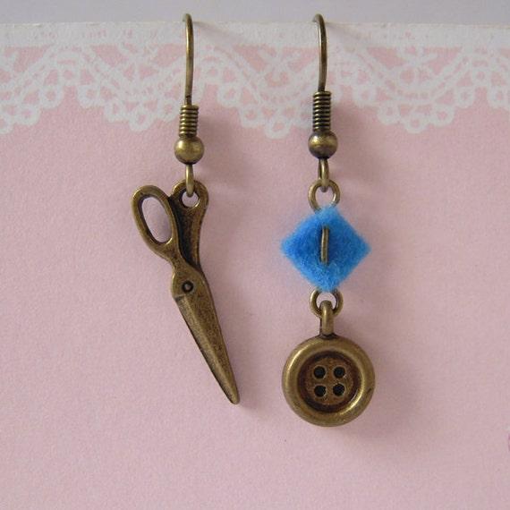 Scissor Button Felt Sewing Earrings, Miniature Earrings, Button Charm, Dangle Scissor