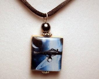 STARSHIP ENTERPRISE / Trekkie / Star Trek Scrabble Pendant / Handmade Jewelry with Satin Cord