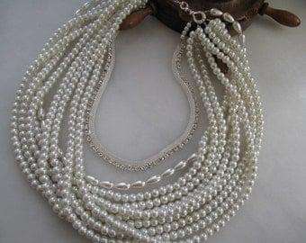 Bridal Wedding  Ivory Pearl Necklace, Chunky  Layered pearl jewellery, Rhinestone Chain.