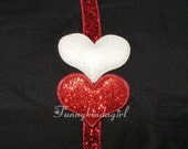 Double Glitter Heart Headband Custom Choose from 71 Sparkle Elastic Band and 5 Heart Colors Valentines Red White Pink  Silver 3/8 inch