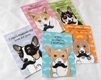 Corgi Mustache Valentine Cards - Eco-friendly Set of 5