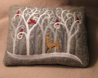 Snowy Winter Season Forest 5x7 Inch Scene Deer Cardinal Redbird January New Year Felted Gray Linen or Wool Embroidered Wee Miniature Pillow