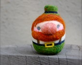 Needle Felted Irish Leprechaun Egg Doll Made to Order