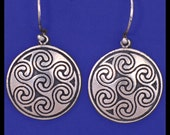 Celtic OBAR LEAMHNACH SPIRALS- Earrings- Sterling Silver