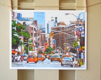 Cabs New York Painting NY Cityscape with Taxis,  Art Print 8x10, Painting by Gwen Meyerson