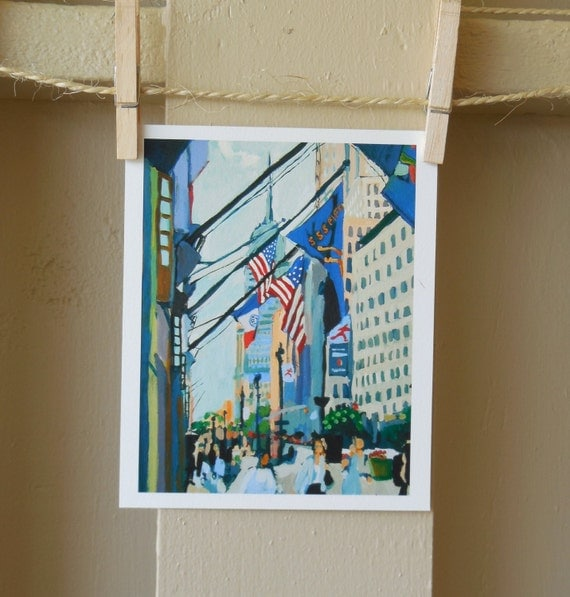 Empire State Building Painting New York Art NYC  Fine Art Print, American Flag Fifth Avenue Cityscape Painting by Gwen Meyerson