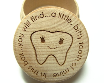 Wooden Tooth Fairy Box with fitted lid
