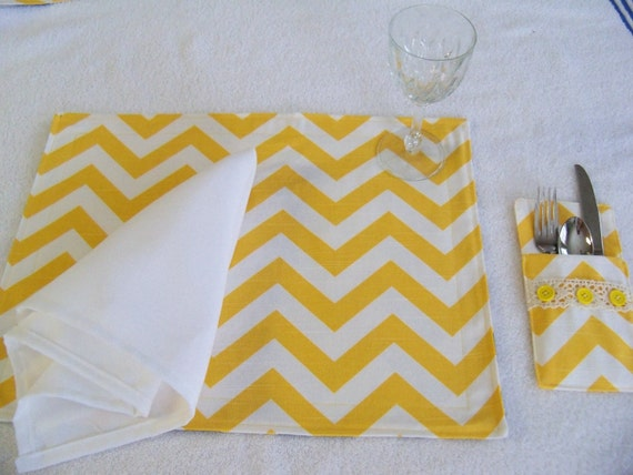 Yellow chevron table place mats matching silverware holder - Handmade gs silverware ...