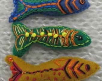 Fish Brooch. Fish Pin. Minow Pin. Fisherwomens Pin. Embroiderd Felt Fish pin.