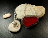 Rare Red textured Seaglass Pendant