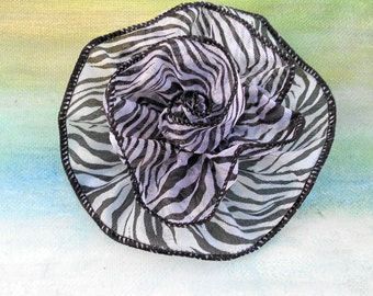 SUMMER FLOWER POWER  Zebra Print Rosette Pin....