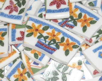 Floral Handcut Mosaic Tiles from Plates J26
