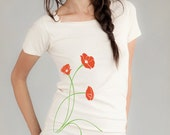 Poppies Flower T-shirt, Women's Organic T-shirt, Natural, Red Poppy, Green, Gift for Her, Limited Edition