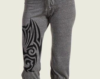Tribal Tattoo Workout Pants, Eco Crop Pants, Yoga Pants, Capri pants, XL