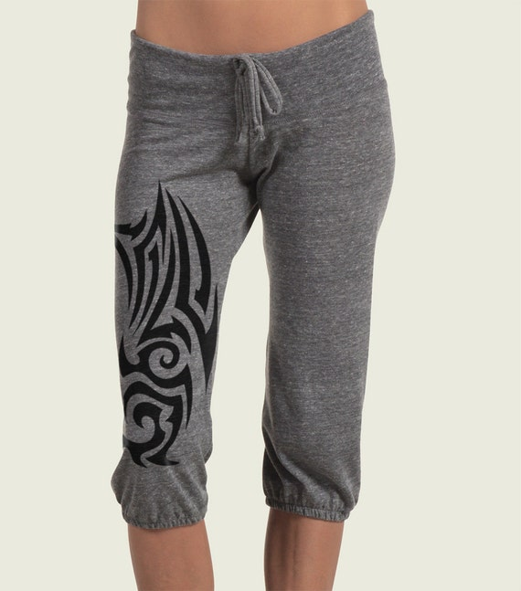 Tribal Tattoo Workout Pants Eco Crop Pants Yoga Pants Capri
