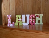 Stand up Wood Letter word -- LAUGH