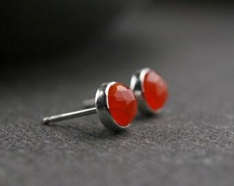 Sterling silver 6mm rose cut carnelian bezel set stud earrings