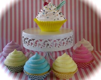 Candy Land Chevron Fake Cupcake Package Set 6 Standard Size, 1 Jumbo Cupcake Original 12Legs Design Fab Photo Shoot Props and Party Decor