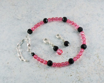 Points Tracker Calorie Calculator Counting Beadwork Bracelet Pink Black Crystal