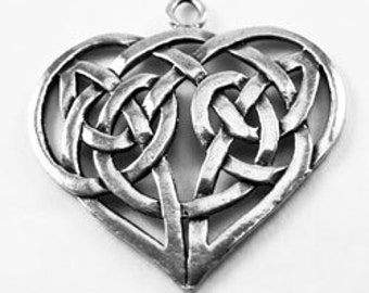 Beautiful Celtic Heart  pendant 1 bail Australian Pewter r410