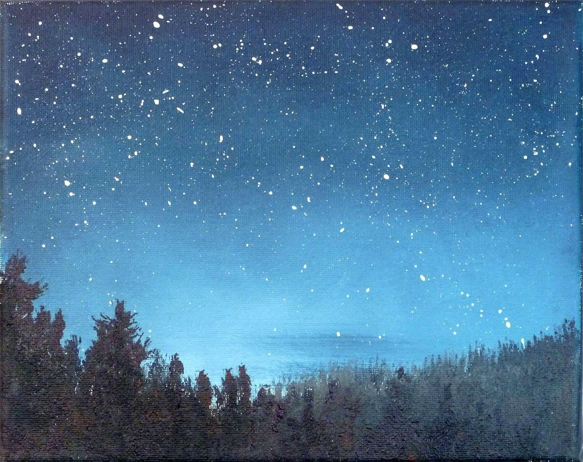 Night sky small stars landscape painting 8x10 astronomy