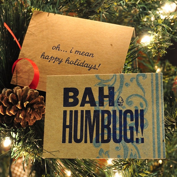 BAH HUMBUG Letterpress Holiday Card 5-Pack