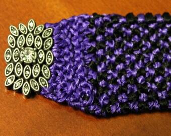 Knitweave bracelet Purple & Black