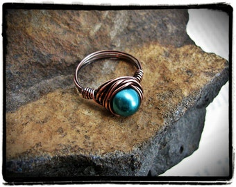 Copper Wire Wrapped Teal Glass Pearl Cocktail Ring