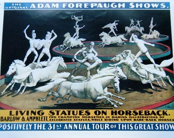Vintage Living Statues On Horseback Circus Poster Size Book Plate