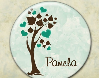Personalized Bridesmaid Gift, Pocket Mirror, Wedding Favor, Tree of Hearts