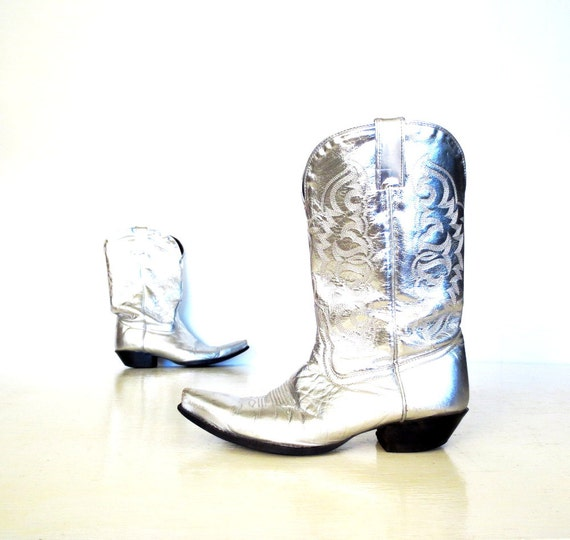 Silver Cowboy Boots / Tony Lama Boots / Vintage Cowgirl Boots