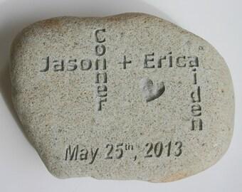 Oathing Stone Custom Engraved White LIght Grey Oath Stone Personalized River Rock