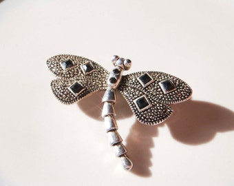 Vintage Silver Dragonfly Onyx Brooch Pin