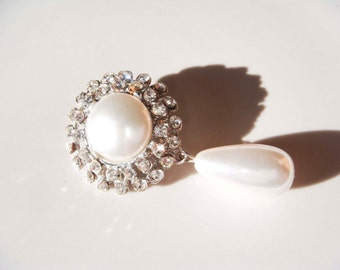Vintage Silver Pearl Rhinestone Dangle Brooch Pin Scarf Pin