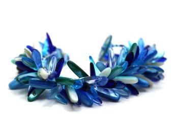 Beaded Cuff Bracelet - Chunky Dagger Fringed - Blue Light Dark Turquoise Navy by randomcreative on Etsy