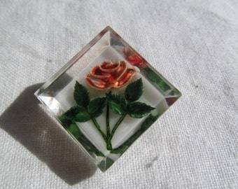 Clear Lucite Pink Rose Pin