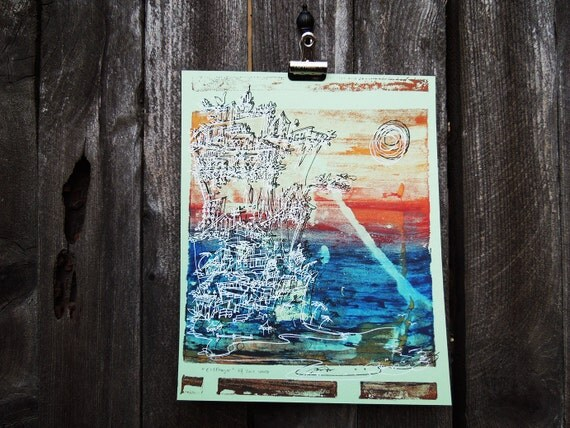 """colorful screen print: sunset beach houses in blues, reds and gold on mint """"Cliffhanger"""" (8x10)"""