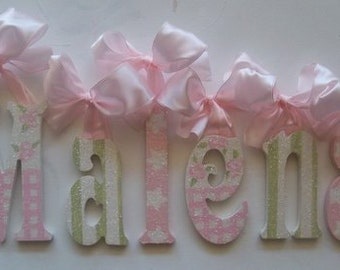 Custom Nursery Letters- Baby Girl Nursery Decor -Nursery Wall Letters- Personalized Name- Wooden Hanging Letters - GLITTERED