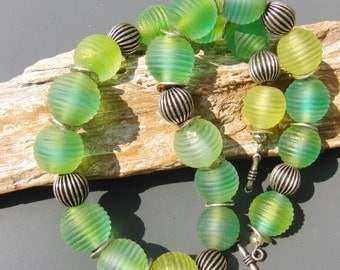 SALE Handmade lampwork necklace in different shades of green sra.